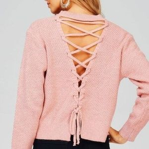 e4b6490182 Knit Sweater with Lace Up Back (Dusty Pink)